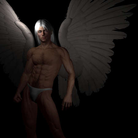 studs: 3D angel in dark light Stock Photo