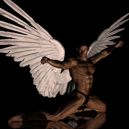 3D angel with wings spread open with arms in fight stance