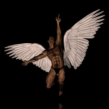 pectorals: 3D angel reaching for something up there