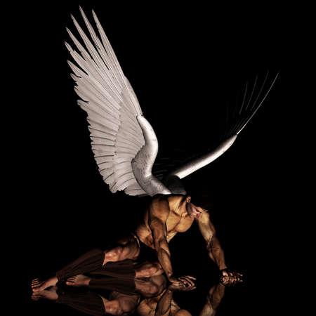 3D fallen angel Stock Photo