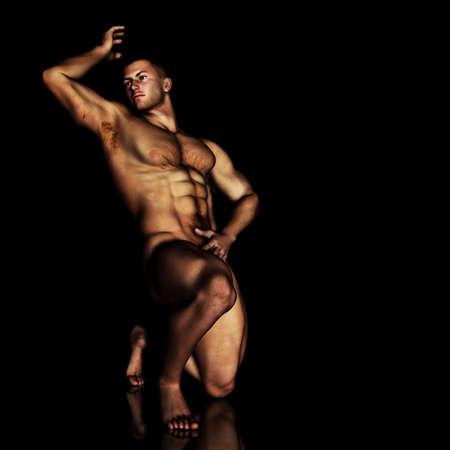 uomo nudo: illustrazione maschio