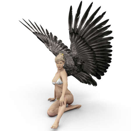 Female angel with dark wings in 3D Stock Photo - 10665370