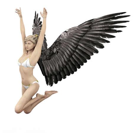 Female angel with dark wings in 3D