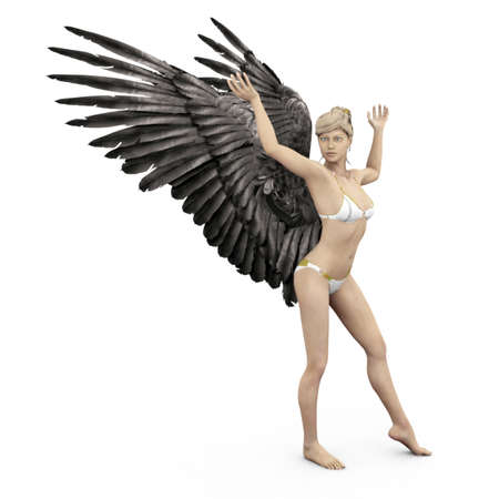 Weibliche Engel mit dunklen Schwingen in 3D Standard-Bild