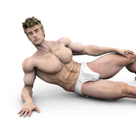 naked abs: underwear model