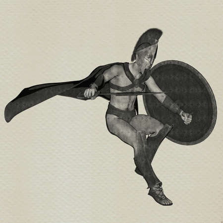 buffed: spartan sketch Stock Photo