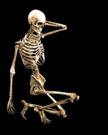 gehurkt skelet Stockfoto