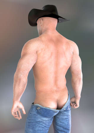bare chest: Cowboy behind