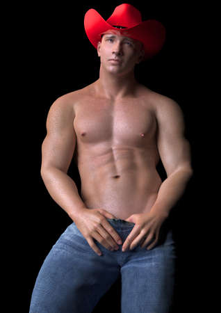 buffed: Bashful Cowboy Stock Photo