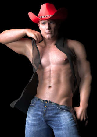 sexy gay: Cleft chin cowboy Stock Photo