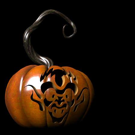 Goblin on pumpkin Stock Photo