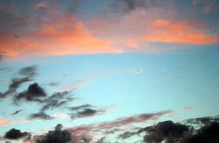 The sky at sunset. Original lighting of the clouds