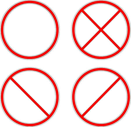 Prohibiting sign. Circle crossed by lines