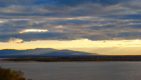 Khabarovsk. View of the Amur river. Autumn.