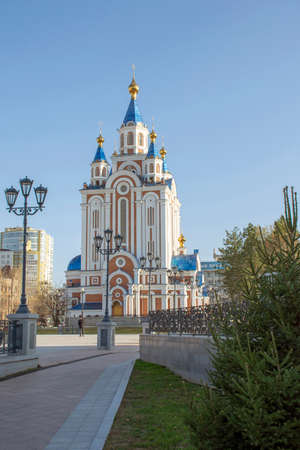 Russia. Khabarovsk - October 2019: City-Khabarovsk Cathedral of the assumption of the Mother of God Stockfoto