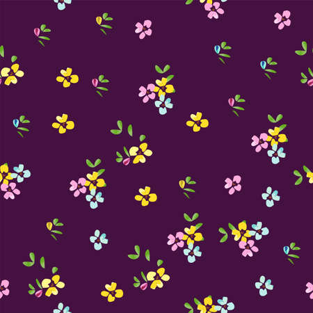 Seamless Vector Floral Background Small Cut Flowers with Purple Background isolated Pattern Design. Great for fabrics, textiles, Motifs, curtains, pillows, blankets, dresses