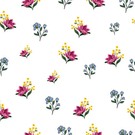 Seamless Vector pink and blue flowers with white background pattern. Isolated design for wall paper, gift wrapping, textiles, fabric, on white background, motifs, dresses