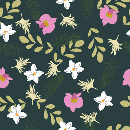 Seamless Vector Floral Background Pattern Design with Tropical flowers. Great for fabrics, textiles, Motifs, curtains, pillows, blankets, dresses, pink flowers with dark background