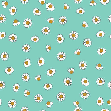 Seamless Vector White Daisies on Bluebackground pattern. Isolated design for wall paper, gift wrapping, textiles, fabric, on white background, motifs, dresses