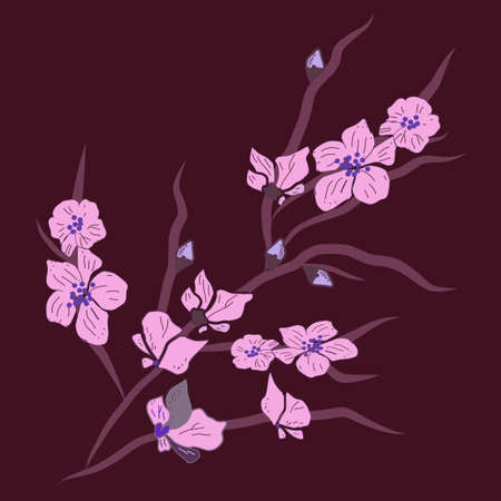 pink orchid on dark purple background isolated vector pattern great for bullet journal, fabric, textile, wallaper, background Ilustrace