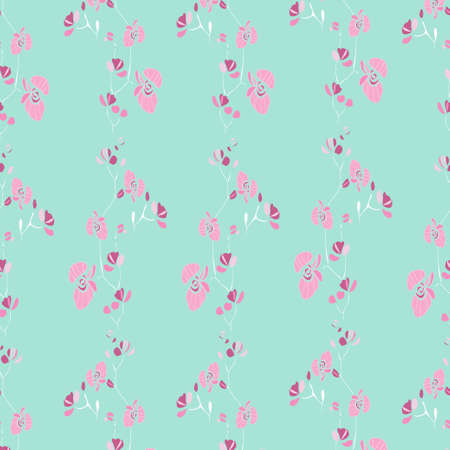 Vector Pink Orchids Floral with blue background design seamless Pattern.