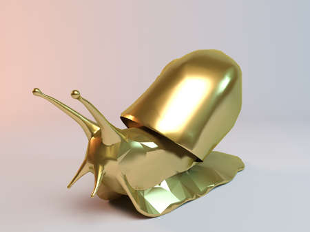 snail: Golden 3D animal snail inside a stage with high render quality to be used as a logo, medal, symbol, shape, emblem, icon, business, geometric, label or any other use Stock Photo