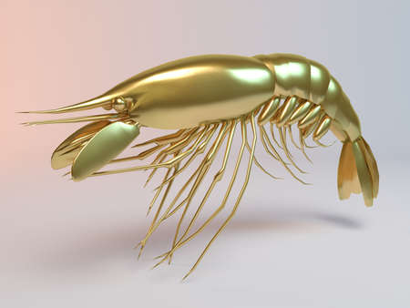 Golden 3D animal lobster inside a stage with high render quality to be used as a logo, medal, symbol, shape, emblem, icon, business, geometric, label or any other use Stockfoto