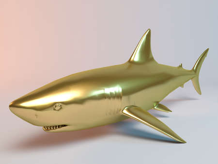 white shark: Golden 3D animal shark inside a stage with high render quality to be used as a logo, medal, symbol, shape, emblem, icon, business, geometric, label or any other use