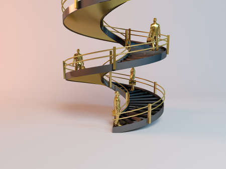 corporate ladder: corporate 3D ladder with business men climbing to the top Stock Photo