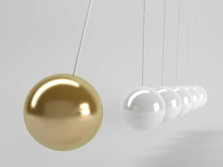 newtons cradle: gray balls and the golden one, Newtons cradle, Business 3D Concept.