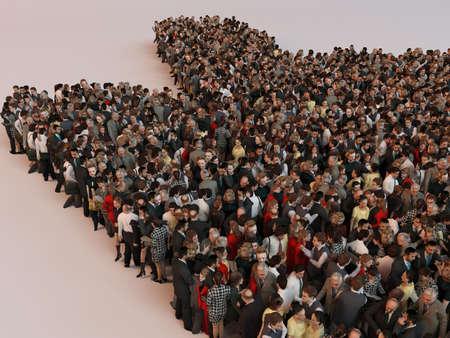 figuras abstractas: La gente en la forma de un negocio símbolo abstracto 3d rinden el interior de una etapa blanco Foto de archivo