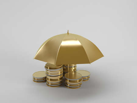 fully unbuttoned: 3d illustration: Protecting funds Umbrella covers gold coins on a white background