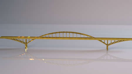 viaduct: Golden 3D object (golden bridge) inside a white reflected stage with high render quality to be used as a logo, medal, symbol, shape, emblem, icon, business, geometric, label or any other use