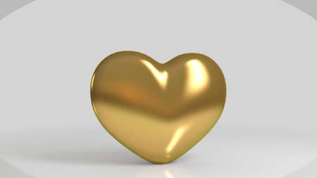 shiny heart: 3d Golden shiny heart shape in a white stage