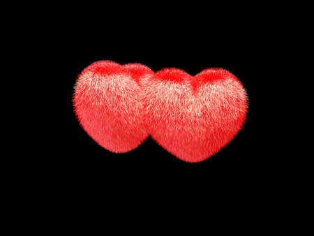 hairy: 3d Hairy valentine  hearts on a black background