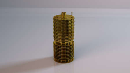 bldg: Golden 3D object (detailed tower) inside a white reflected stage with high render quality to be used as a logo, medal, symbol, shape, emblem, icon, business, geometric, label or any other use