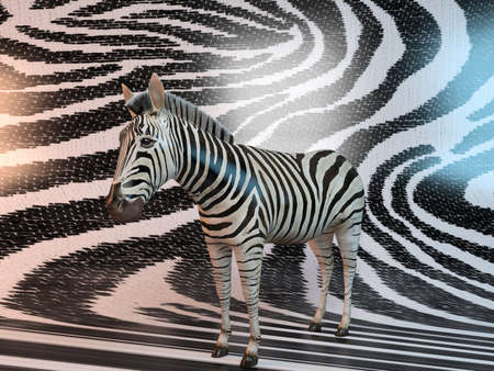banding: Zebra with same texture background pattern