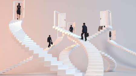 3 D キャラクターは、目標を達成する彼の目的地に到着階段 写真素材