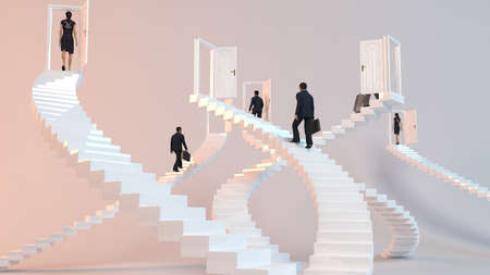 hopefulness: 3D character goes on the stairs to reach the goal or arrive to his destination