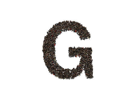 forming: 3d characters forming the letter G isolated on a white background seen from above Stock Photo