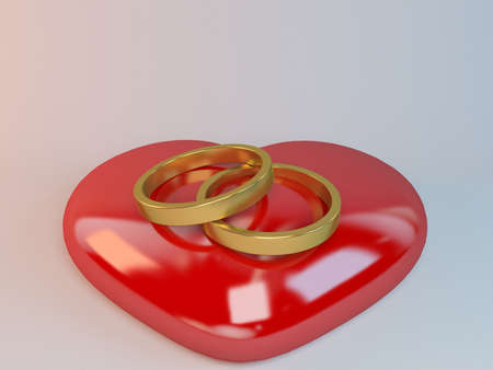 Marriage symbol 3D rendered Illustration inside a white stage for valentine day or weddings. Stock Photo