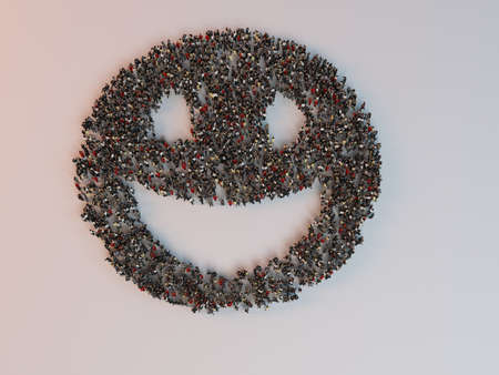 crowd happy people: People in the form of an abstract symbol business 3d render inside a white stage