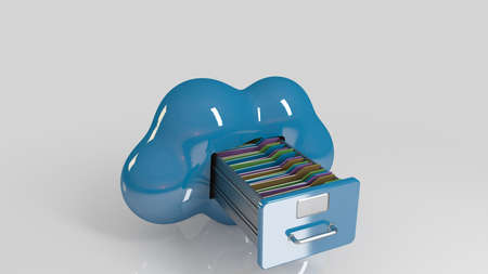 many coloured: File storage in cloud. 3D computer icon on a white stage.