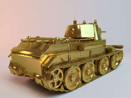 armaments: Golden imaginary 3d tank design with much equipment�s and weapons on it. Stock Photo