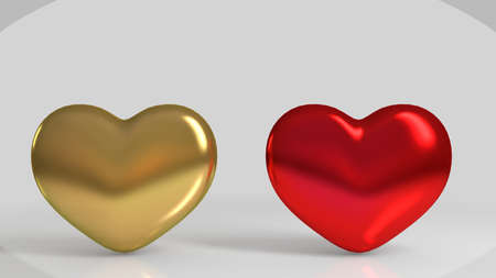 shiny heart: 3d Golden and red shiny heart shape in a white stage