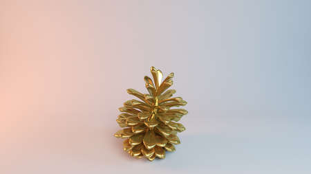 show plant: Golden 3D object (Pine) inside a white reflected stage with high render quality to be used as a logo, medal, symbol, shape, emblem, icon, business, geometric, label or any other use