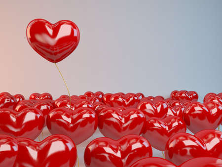 passions: Group of red hearts balloons inside a 3d white stage