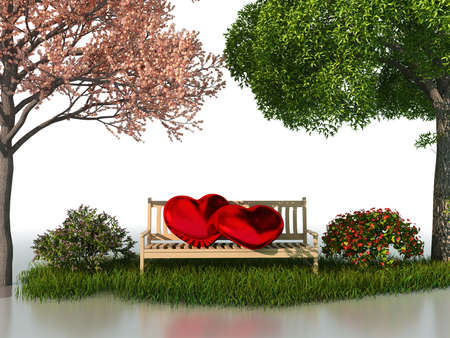 the sprouting: 3D valentine view for love and romance isolated on a white background with beautiful summer and spring trees. Stock Photo