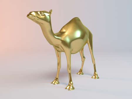 love very: Golden 3D animal camel inside a stage with high render quality to be used as a logo, medal, symbol, shape, emblem, icon, business, geometric, label or any other use