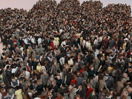 social gathering: People in the form of an abstract symbol business 3d render inside a white stage